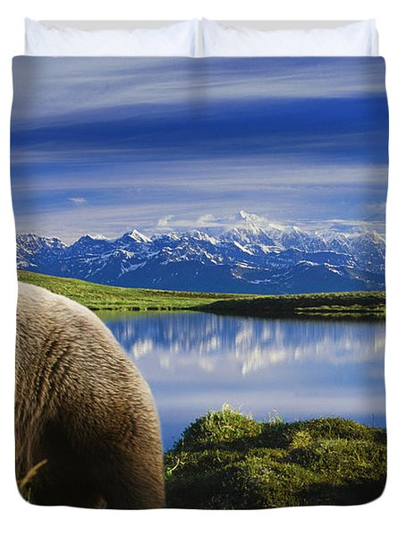 Composite Grizzly Stands In Front Of Duvet Cover by Michael Jones