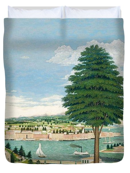 Composite Harbor Scene With Castle Duvet Cover by Jurgen Frederick Huge