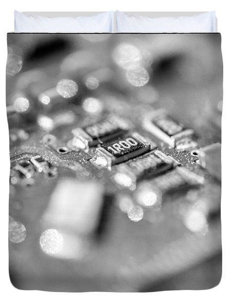 Computer Board High Key Black And White Duvet Cover