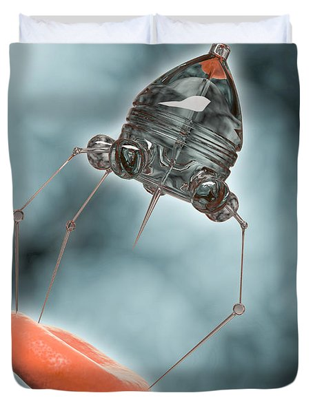 Conceptual Image Of A Nanobot Injecting Duvet Cover