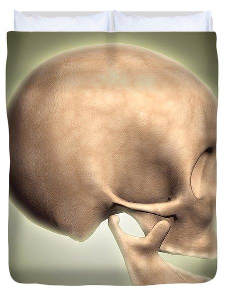 Conceptual Image Of Human Skull, Side Duvet Cover by Stocktrek Images