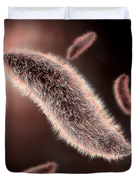 Conceptual Image Of Paramecium Duvet Cover by Stocktrek Images