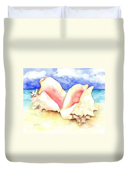 Conch Shells On Beach Duvet Cover