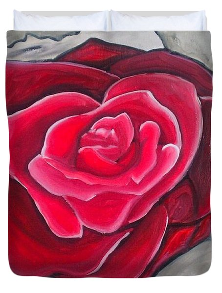 Duvet Cover featuring the painting Concrete Rose by Marisela Mungia