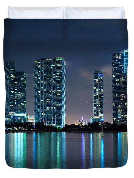 Duvet Cover featuring the photograph Condominium Buildings In Miami by Carsten Reisinger