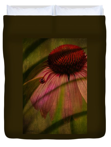 Cone Flower And The Ladybug Duvet Cover by Lesa Fine