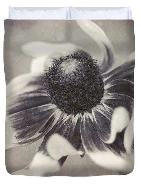 Coneflower In Monochrome Duvet Cover