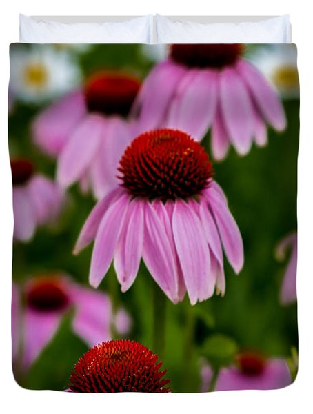 Coneflowers In Front Of Daisies Duvet Cover