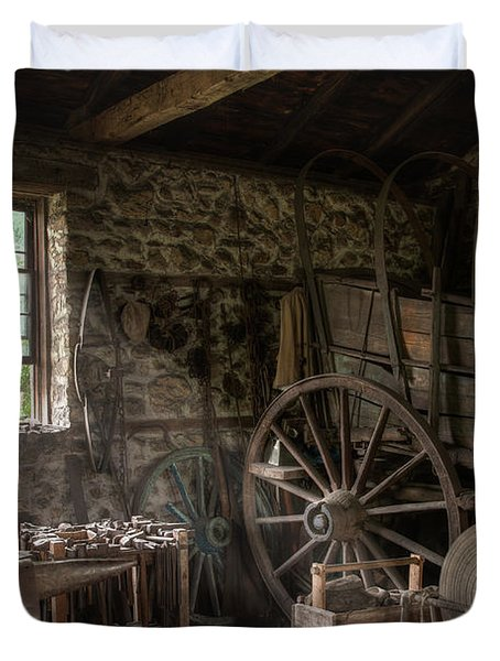 Duvet Cover featuring the photograph Conestoga Wagon At The Blacksmith - Wagon Repair by Gary Heller
