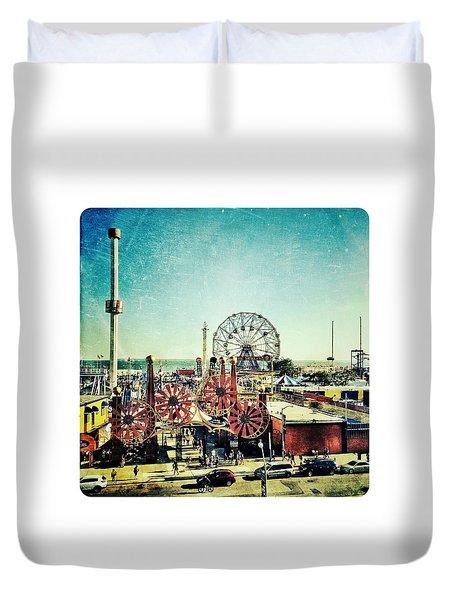 Coney Island Amusement Duvet Cover