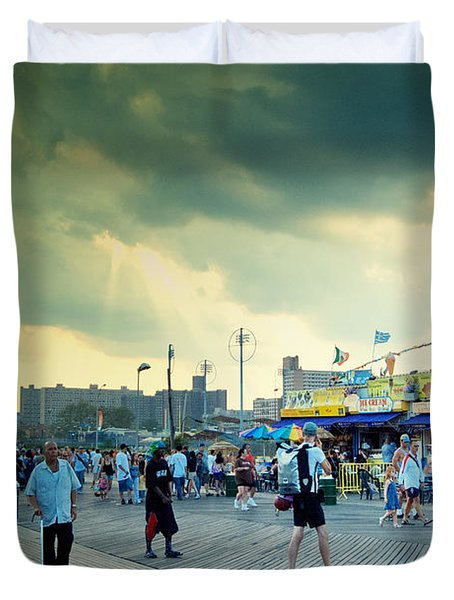Coney Island Brooklyn New York City Duvet Cover by Sabine Jacobs