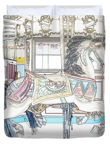 Coney Island Carousel Duvet Cover by Lilliana Mendez