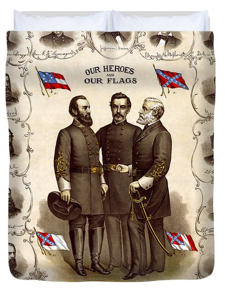 Confederate Generals And Flags Duvet Cover