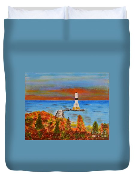 Fall, Conneaut Ohio Light House Duvet Cover
