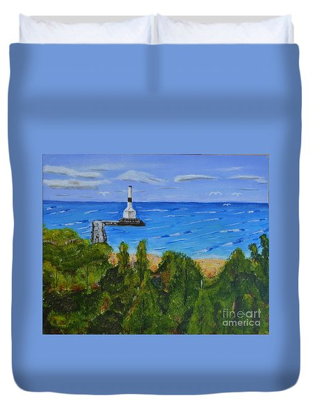 Summer, Conneaut Ohio Lighthouse Duvet Cover