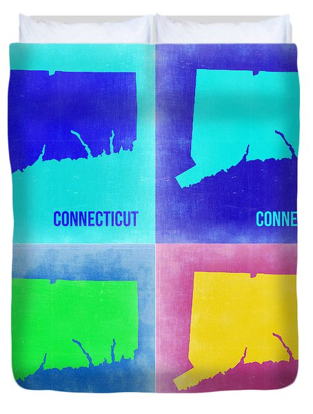 Connecticut Pop Art Map 2 Duvet Cover by Naxart Studio