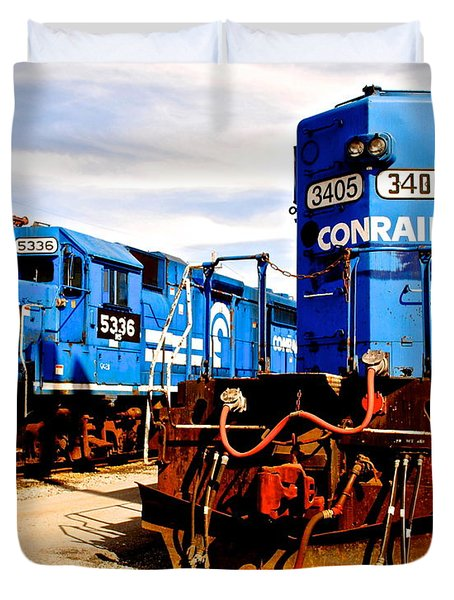 Conrail Choo Choo  Duvet Cover by Frozen in Time Fine Art Photography