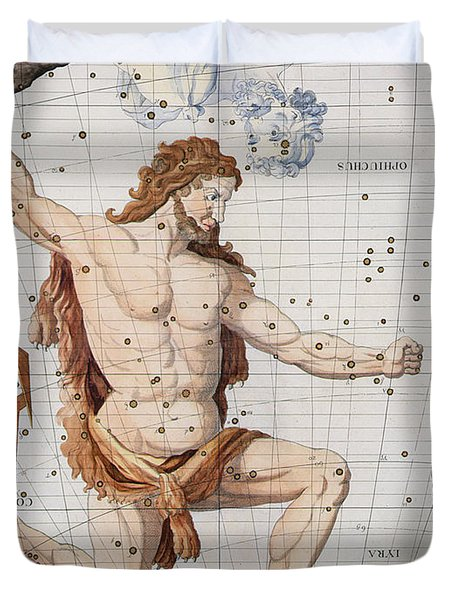 Constellation Of Hercules With Corona And Lyra Duvet Cover