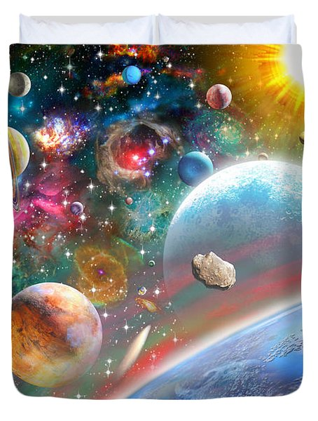 Constellations And Planets Duvet Cover by Adrian Chesterman