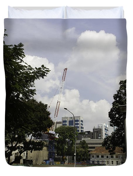 Construction Work Ongoing In Singapore Duvet Cover by Ashish Agarwal