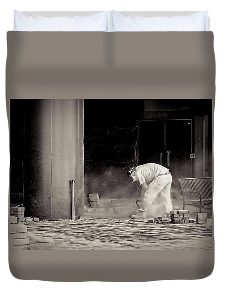 Construction Worker Bw Duvet Cover by Rudy Umans