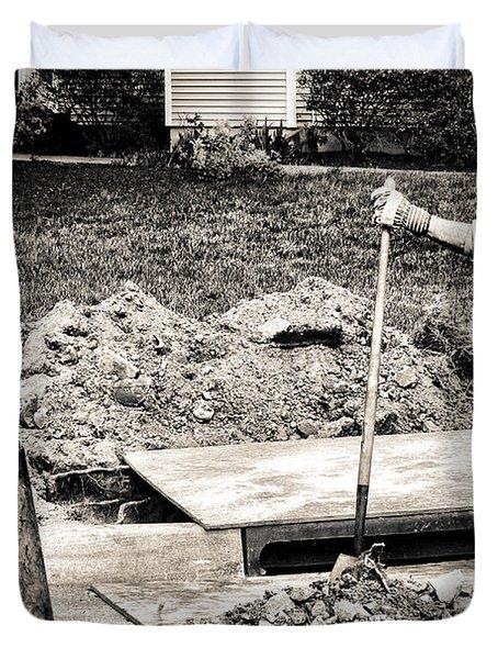 Construction Worker Duvet Cover