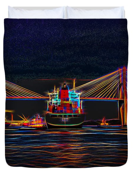 Container Ship Arriving At Savannah Duvet Cover