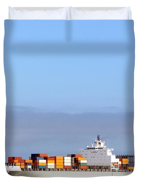 Container Ship At Sea Duvet Cover
