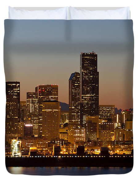 Container Ship On Puget Sound Along Seattle Skyline Duvet Cover