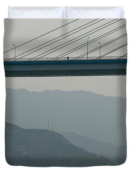 Container Ships Passing A Newly Duvet Cover