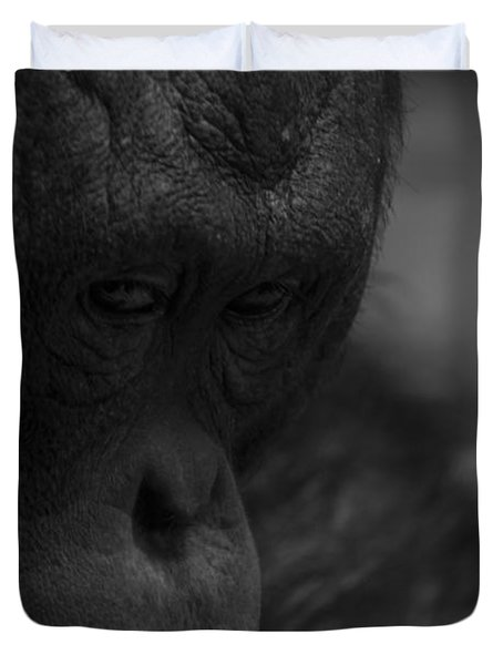 Contemplating Orangutan Duvet Cover