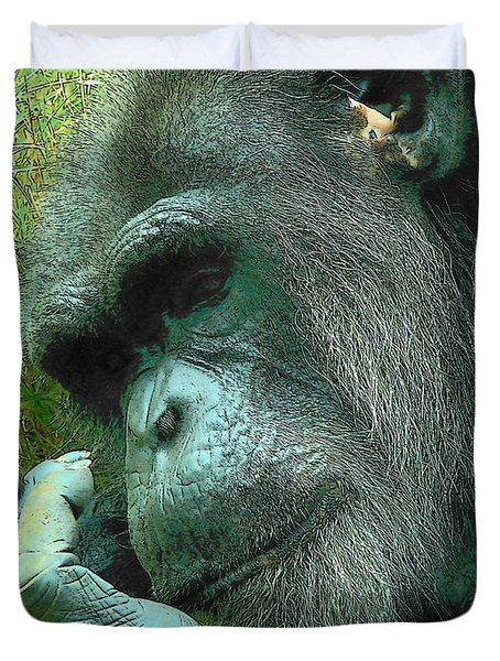 Duvet Cover featuring the photograph Contemplative Chimp by Rodney Lee Williams
