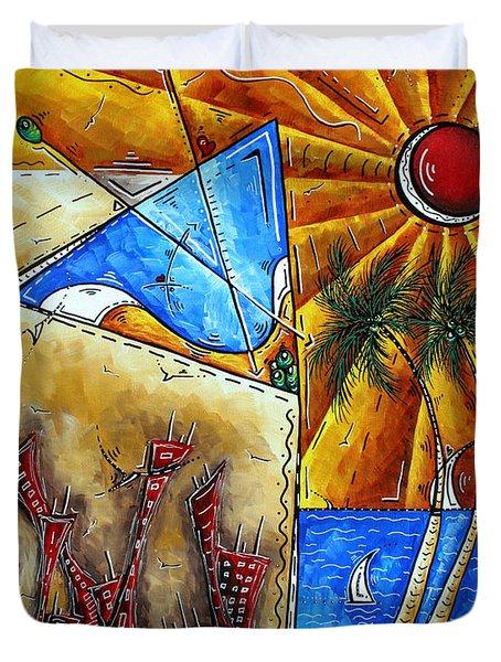 Contemporary Coastal Nautical Tropical Martin Art Original Sailboat Painting Ocean View By Madart Duvet Cover by Megan Duncanson