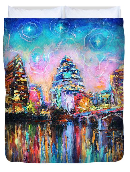Contemporary Downtown Austin Art Painting Night Skyline Cityscape Painting Texas Duvet Cover