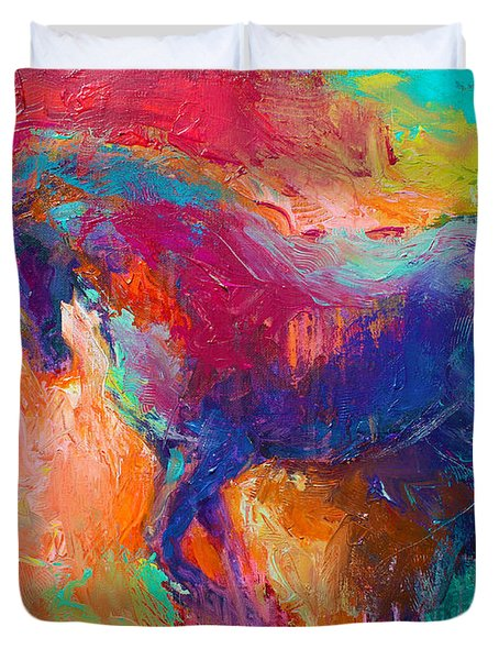 Contemporary Vibrant Horse Painting Duvet Cover
