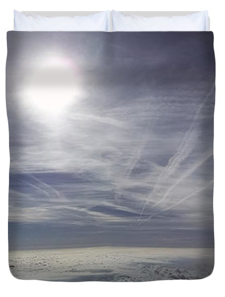 Contrail Panorama Duvet Cover by Greg Reed