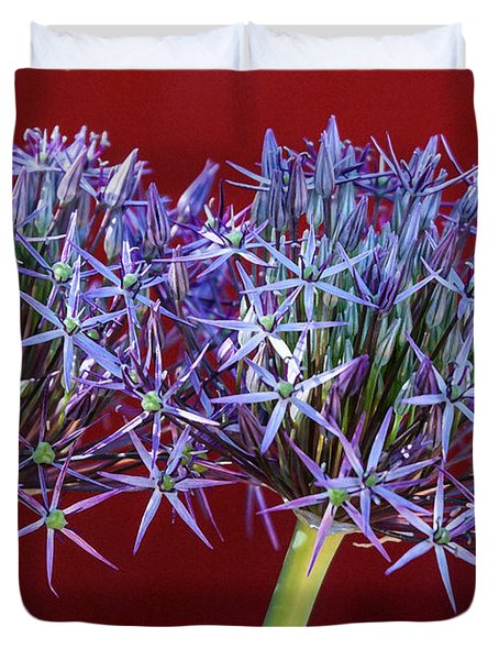 Duvet Cover featuring the photograph Flowering Onions by Roselynne Broussard