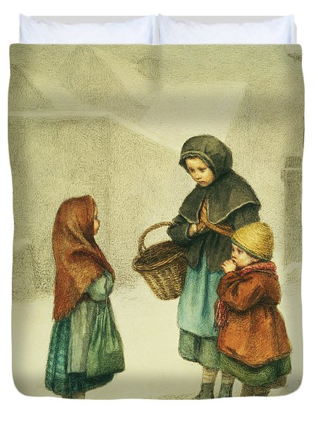 Conversation In The Snow Duvet Cover by Pierre Edouard Frere