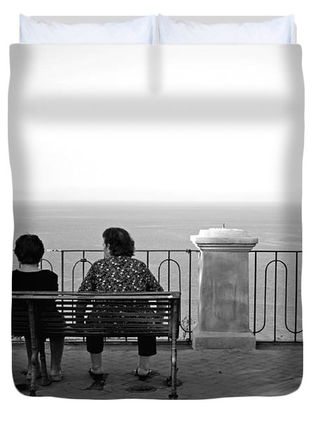 Conversations By The Sea Duvet Cover