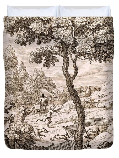 Cony Catching, Engraved By Wenceslaus Duvet Cover