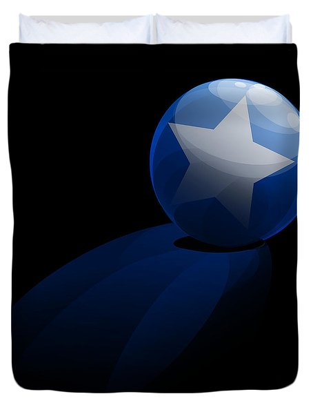 Duvet Cover featuring the digital art Blue Ball Decorated With Star Grass Black Background by R Muirhead Art