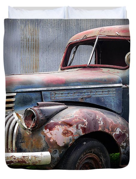 Duvet Cover featuring the photograph Cool Blue Chevy by Steven Bateson