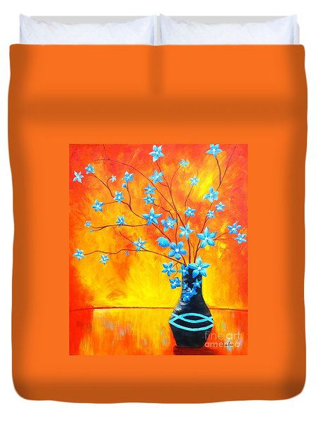 Cool Blue On Fire Duvet Cover