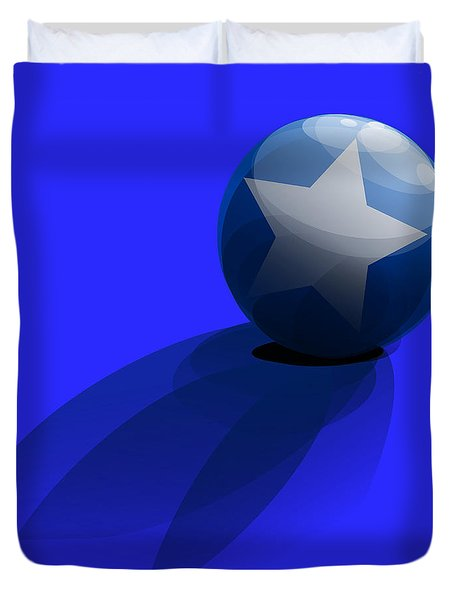 Duvet Cover featuring the digital art Blue Ball Decorated With Star Grass Blue Background by R Muirhead Art