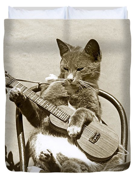 Duvet Cover featuring the photograph Cool Cat Playing A Guitar Circa 1900 Historical Photo By Photo  Henry King Nourse by California Views Mr Pat Hathaway Archives