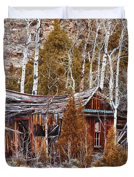 Cool Colorado Rural Rustic Rundown Rocky Mountain Cabin  Duvet Cover by James BO  Insogna