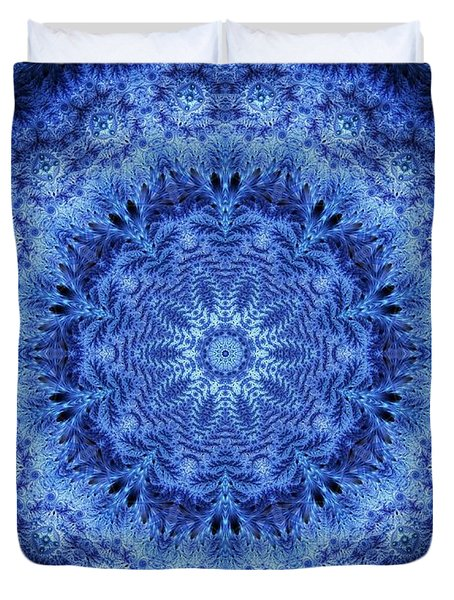 Duvet Cover featuring the digital art Cool Down Series #2 Frozen by Lilia D