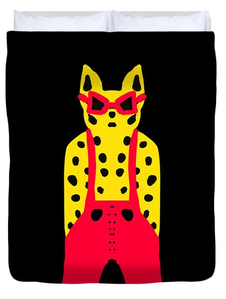Cool For Cats In Red Dungarees Duvet Cover