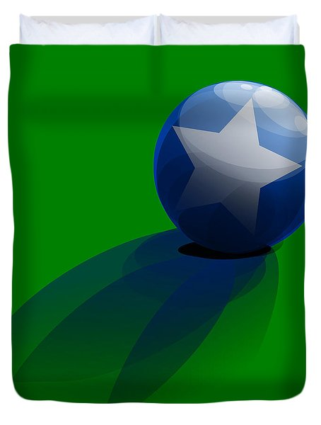 Duvet Cover featuring the digital art Blue Ball Decorated With Star Grass Green Background by R Muirhead Art