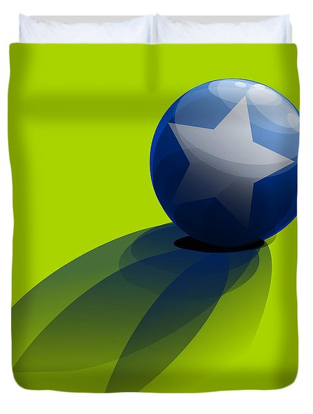 Duvet Cover featuring the digital art Blue Ball Decorated With Star Green Background by R Muirhead Art